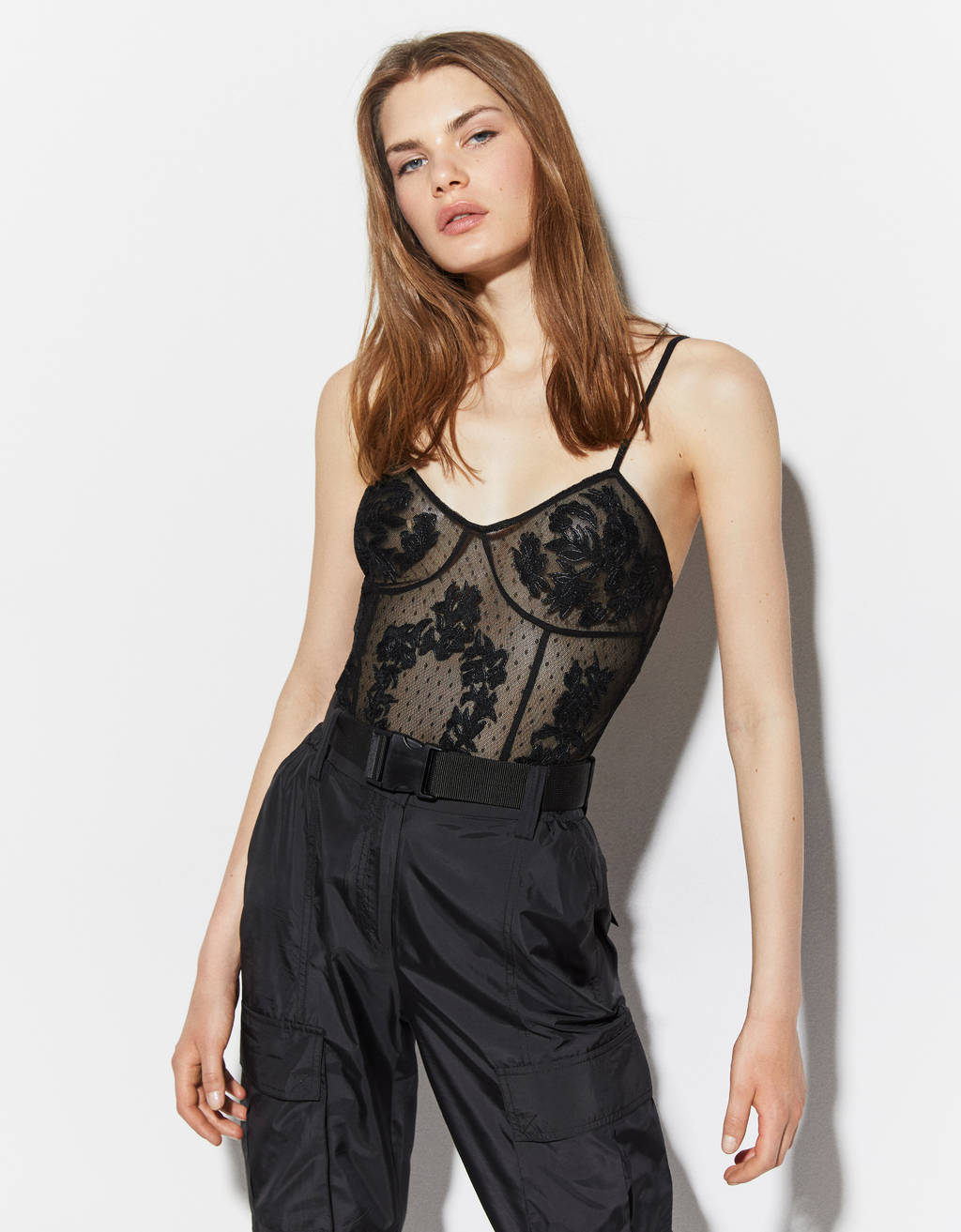 Plumetis bodysuit with embroidery