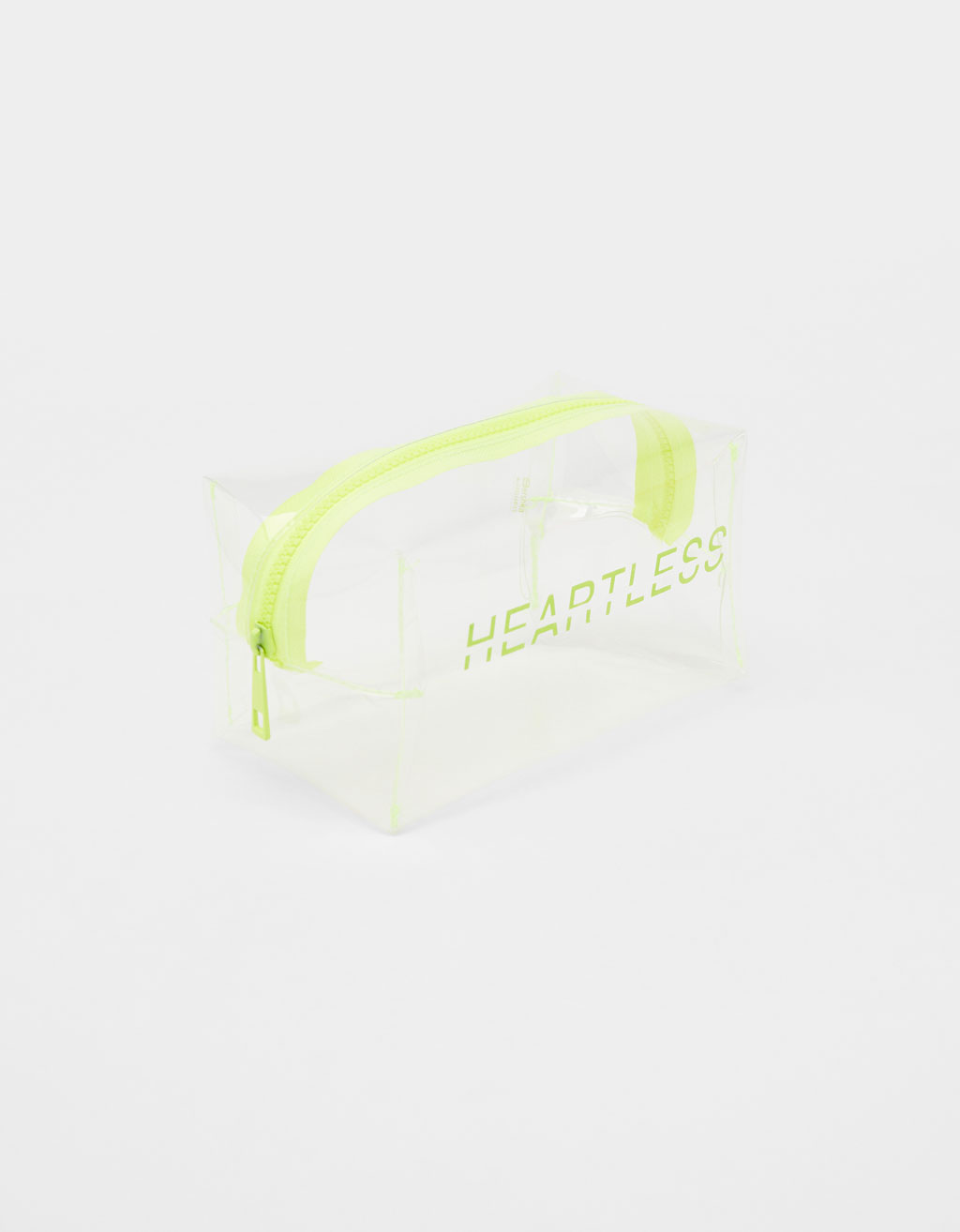 Transparent toiletry bag with neon zips