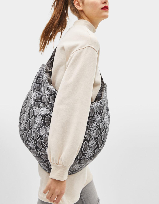 Snakeskin print maxi bag