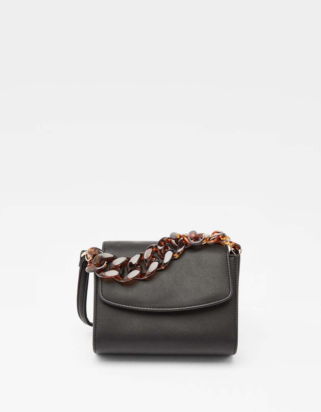 Handbag with tortoiseshell-effect chain strap