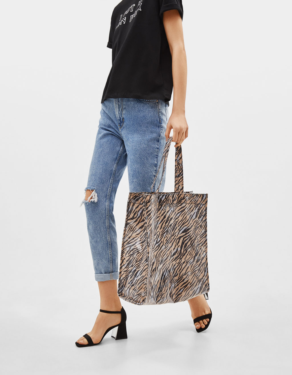 Transparent bag with zebra print