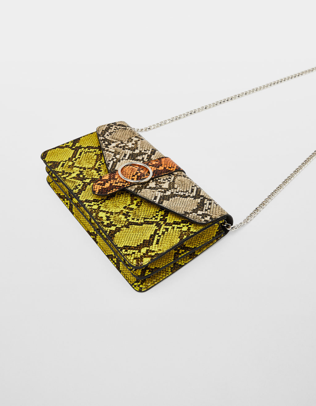Multicoloured snakeskin print bag