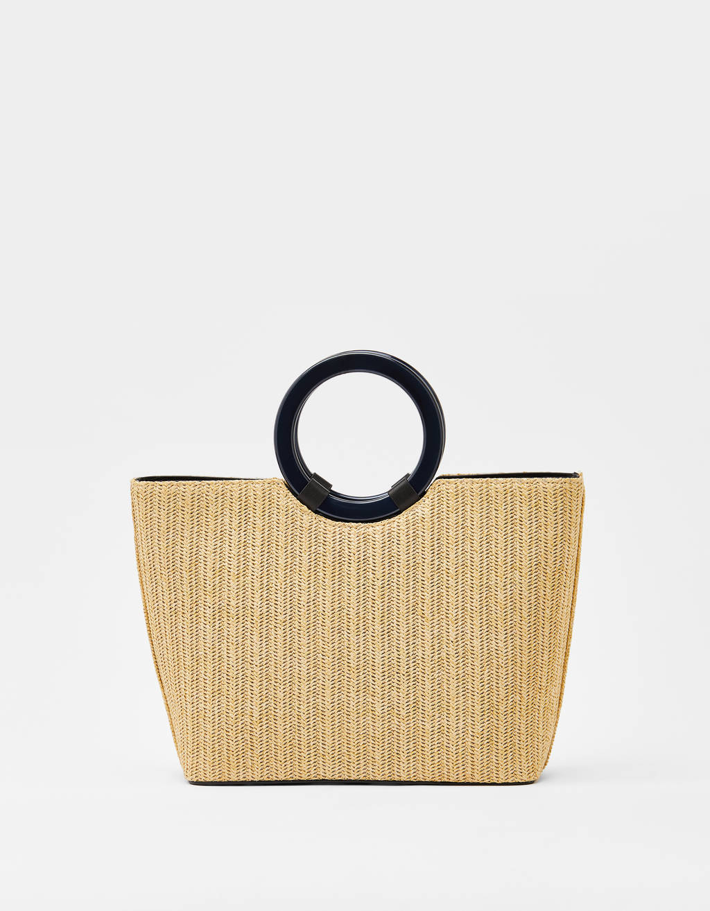 Straw bag with round handles