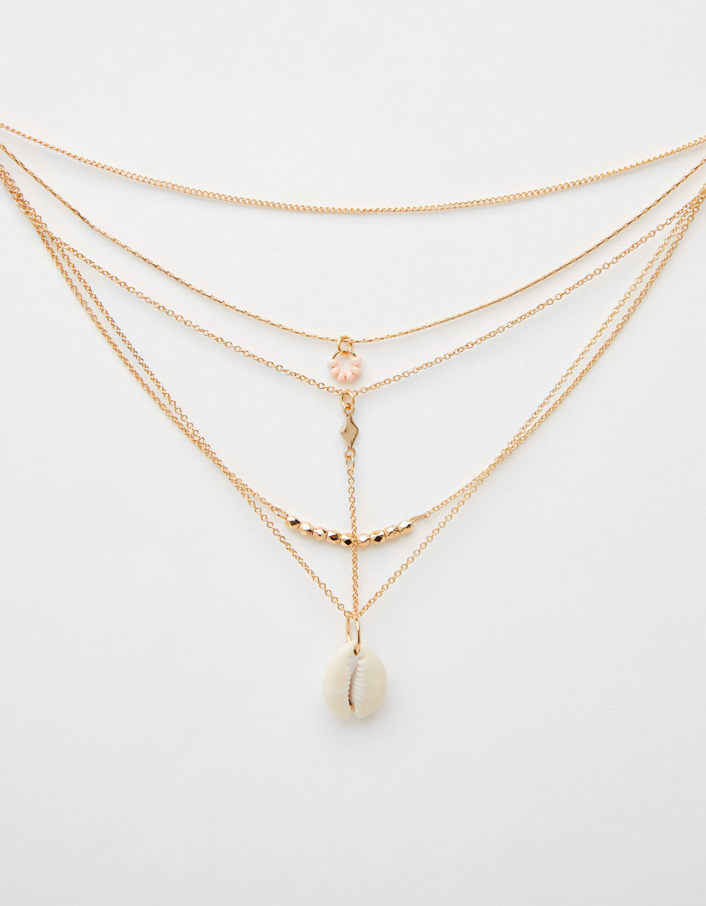 Multi-strand chain necklace with seashell pendant
