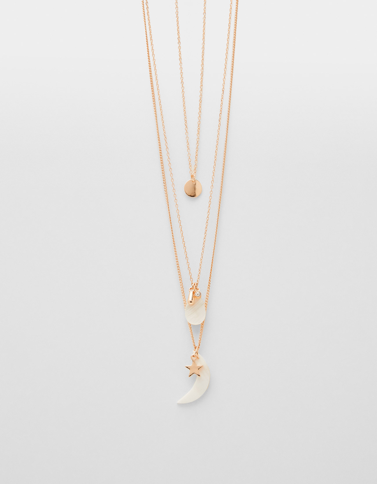 3c060571f0fbe Multi-strand chain necklace with mother-of-pearl pendant - CLOTHING -  Bershka Panama