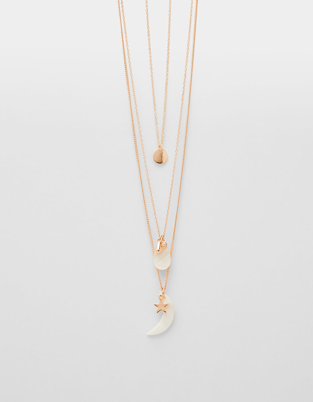 Multi-strand chain necklace with mother-of-pearl pendant