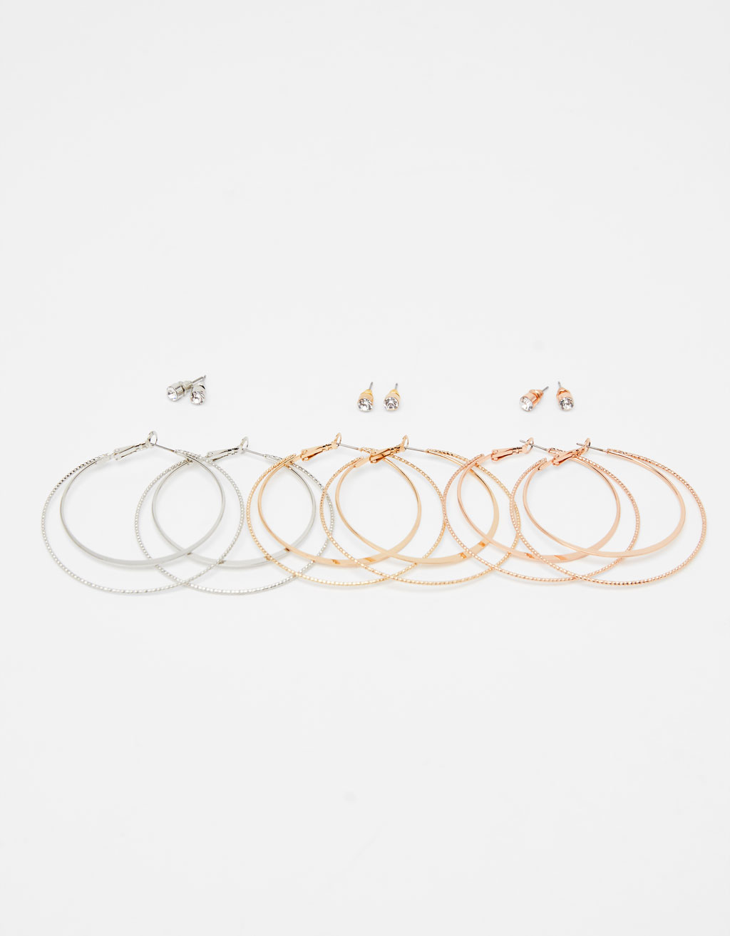 Set of 3 pairs of hoop earrings