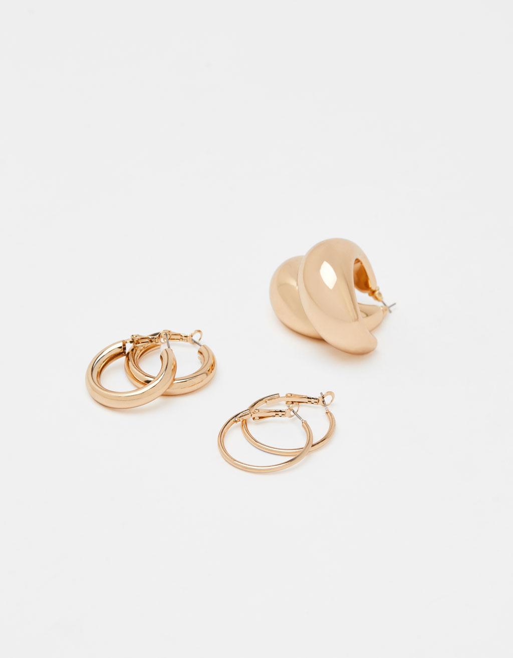 Sæt af 3 øreringe hoops