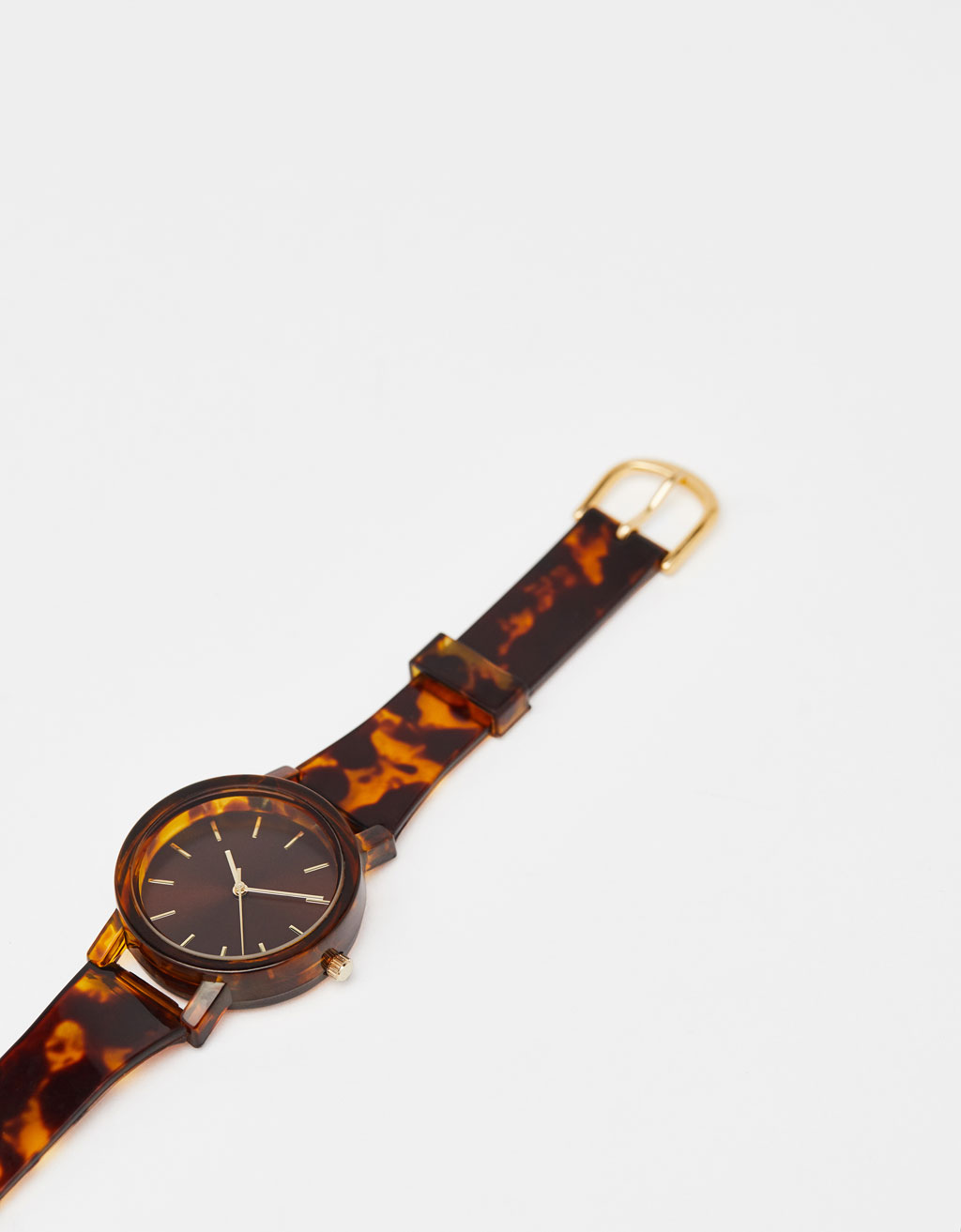 Analogue watch with tortoiseshell-effect wristband