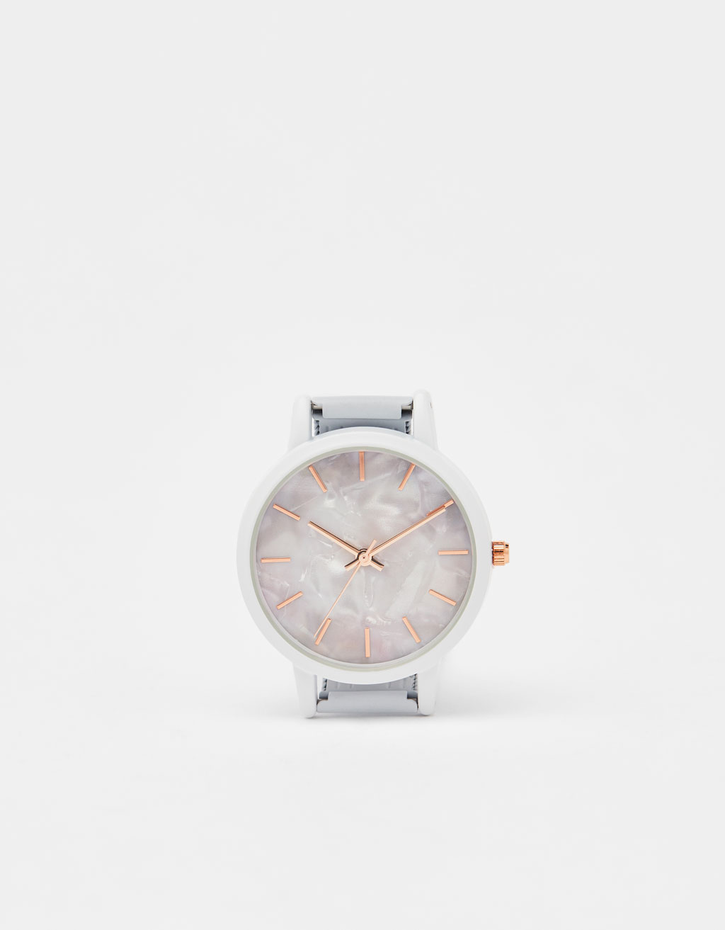 Marble-effect analogue watch
