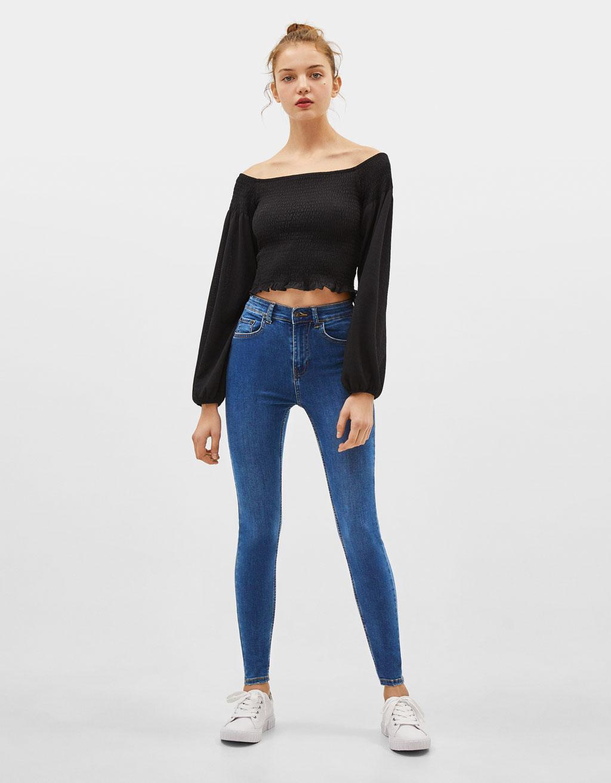 5a17031dd513 High-rise skinny jeans - Heels - Bershka United States