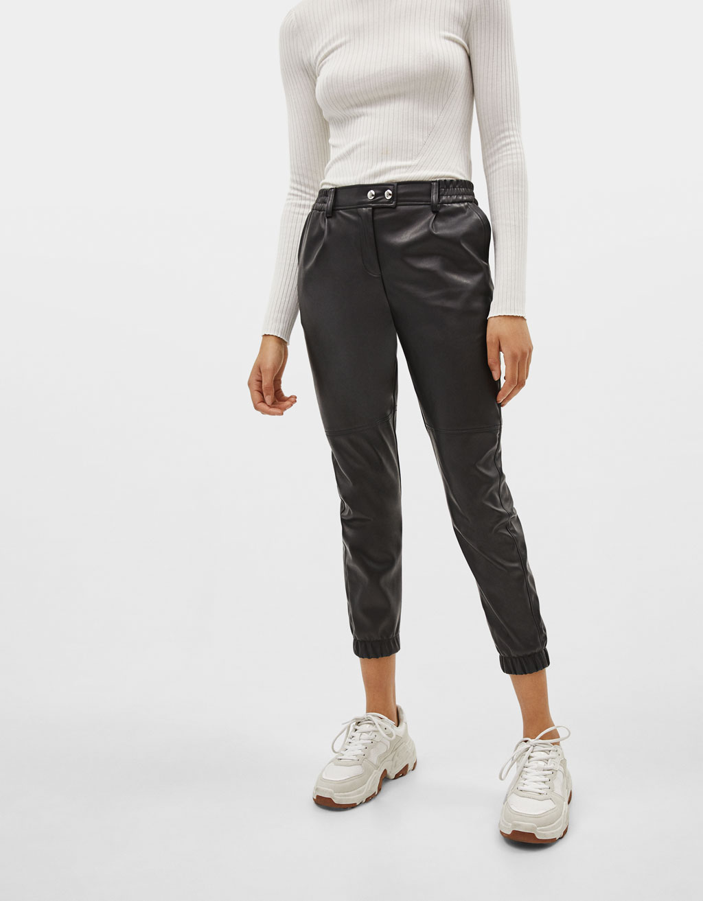Faux leather jogger trousers