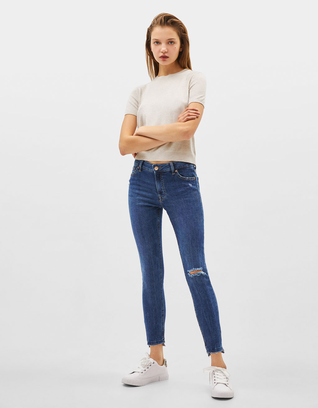 Jeans coupe skinny taille basse