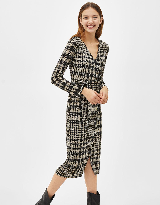 Check wrap midi dress