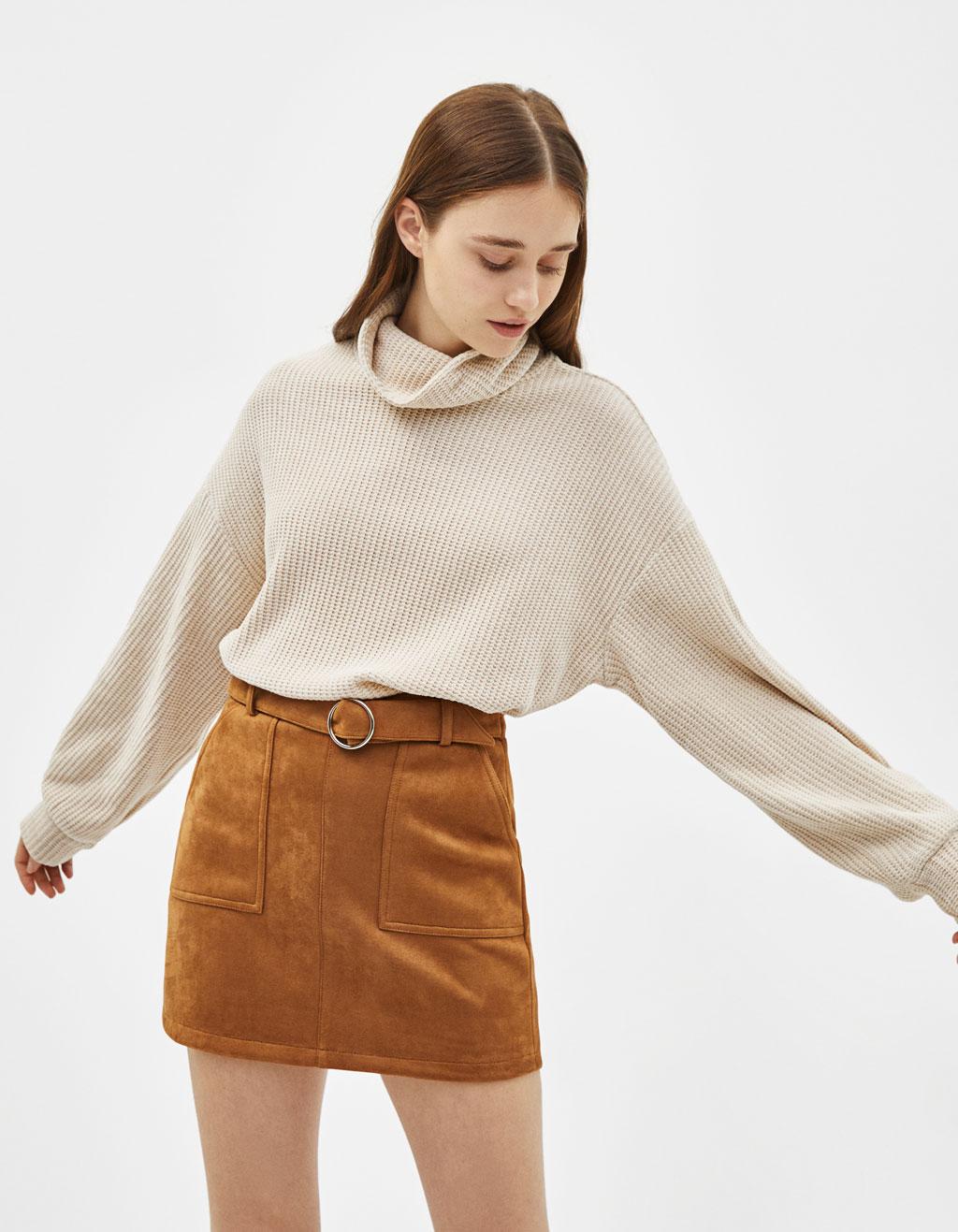 b607186494 Mini skirt with belt - Jumpers - Bershka Albania