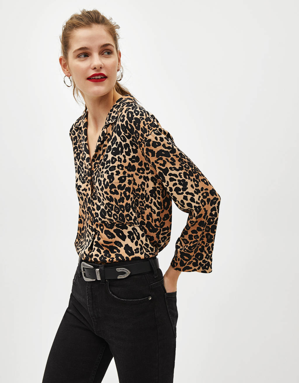Camisa con estampado animal print
