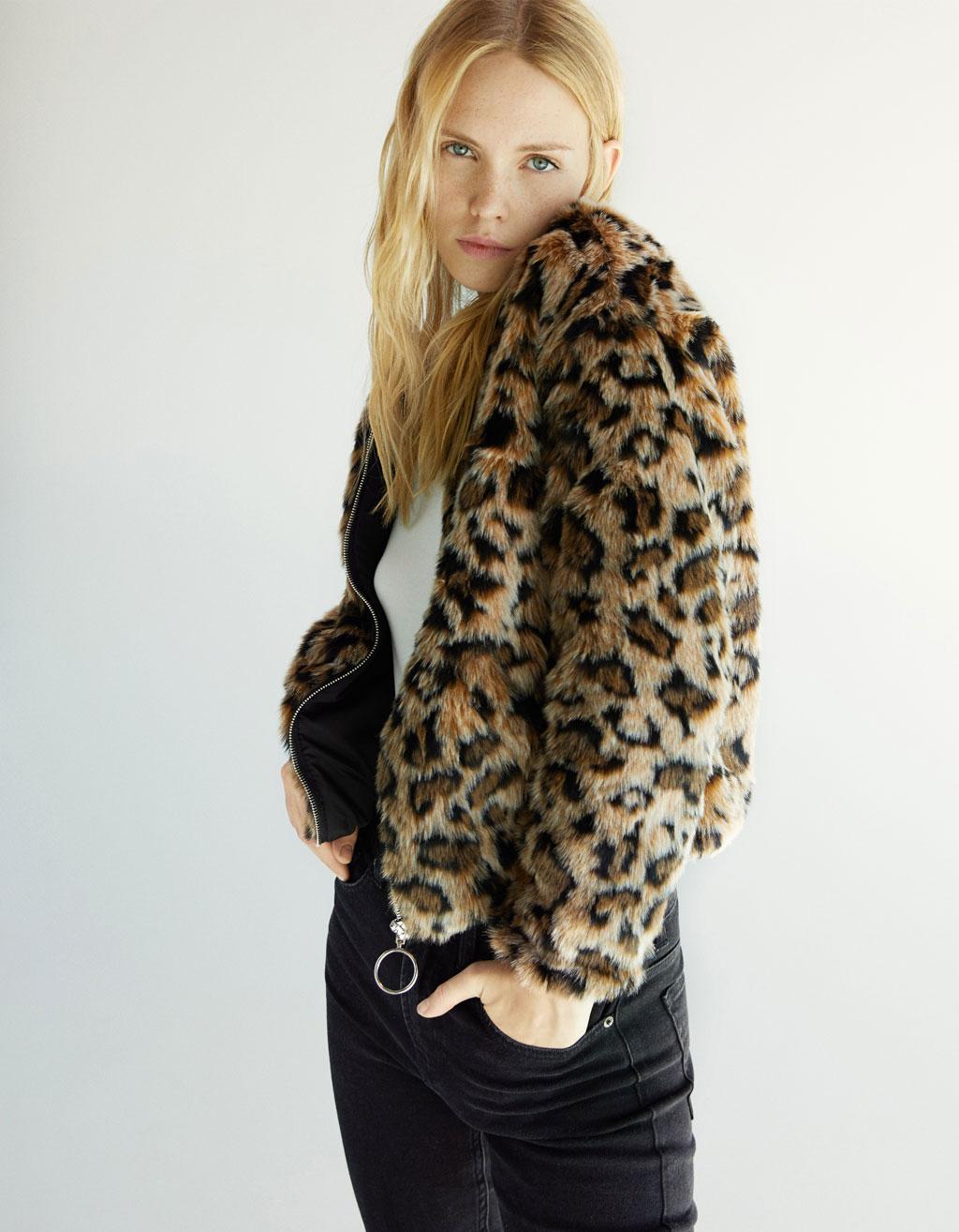 ee7deab84f76 Leopard print faux fur jacket - Coats - Bershka United Arab Emirates