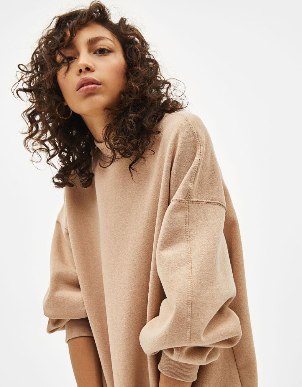 Sweatshirt met perkins-hals