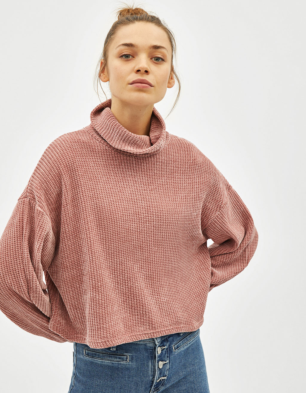 Funnel collar chenille sweater