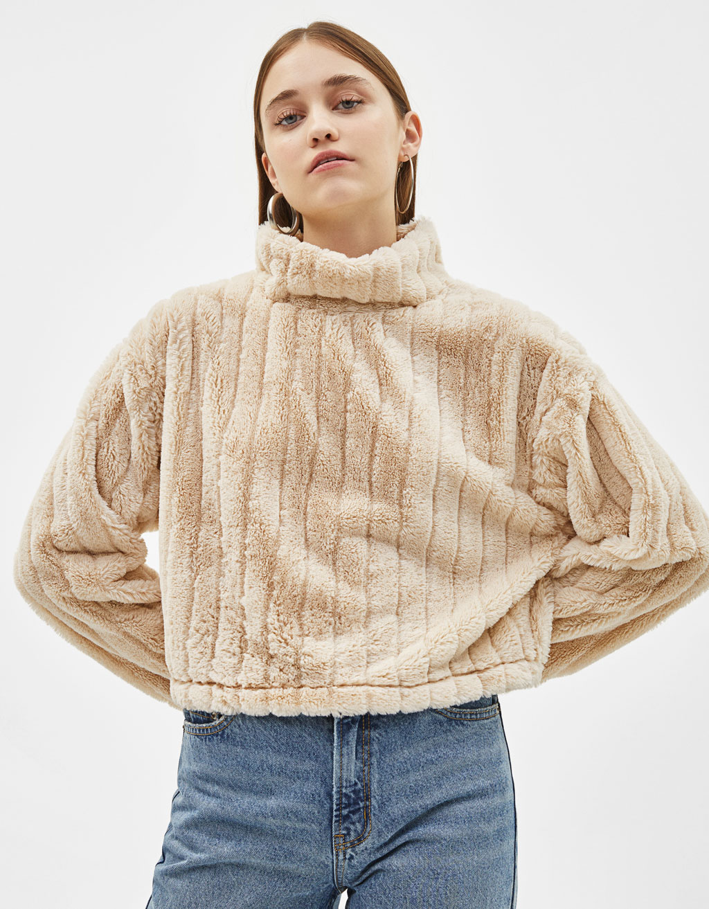 Faux fur turtleneck sweater