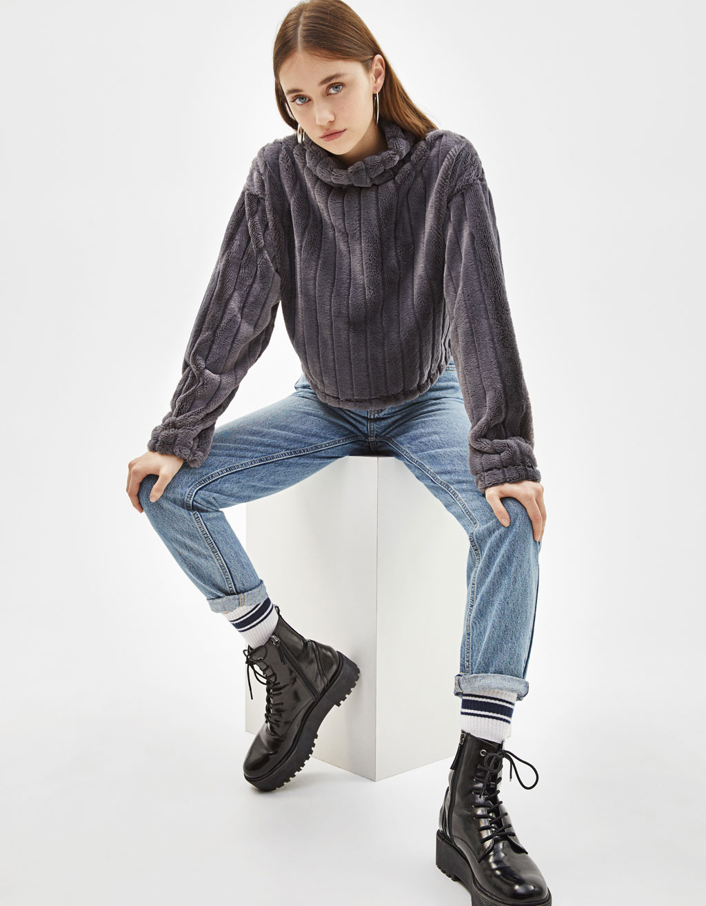 Fuzzy roll neck sweater