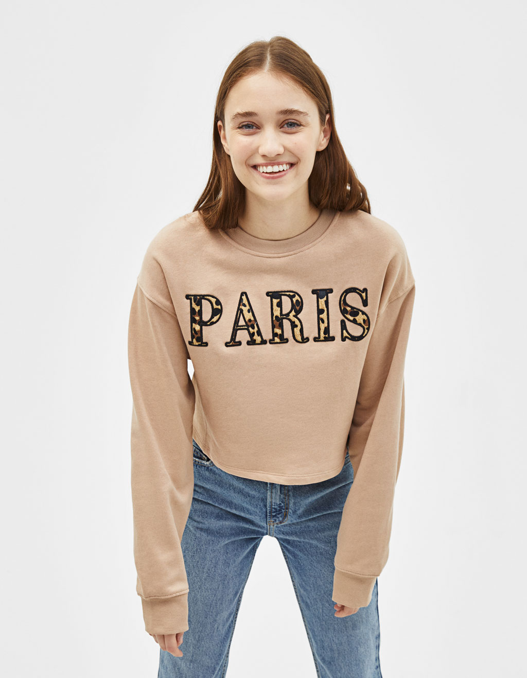 Sweat cropped avec applique
