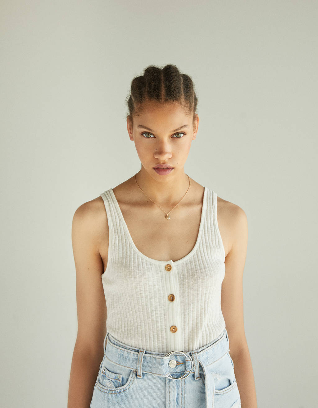 Button-up top with straps