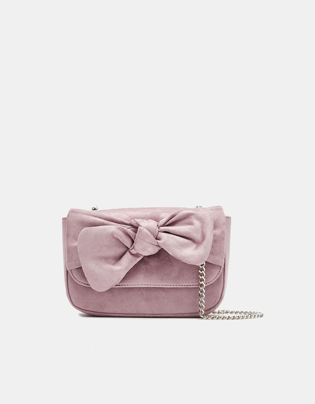Faux suede bag with bow detail