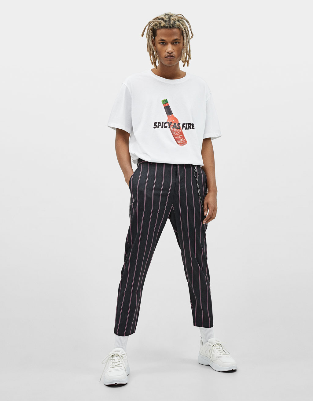 Striped carrot fit trousers