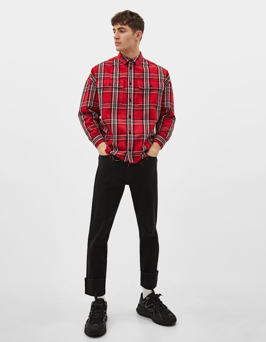 Oversized check print shirt