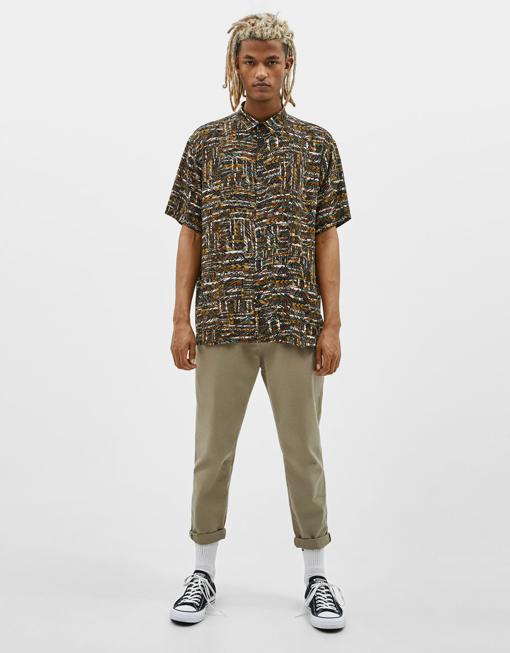 Brīvi krītošs krekls ar apdruku