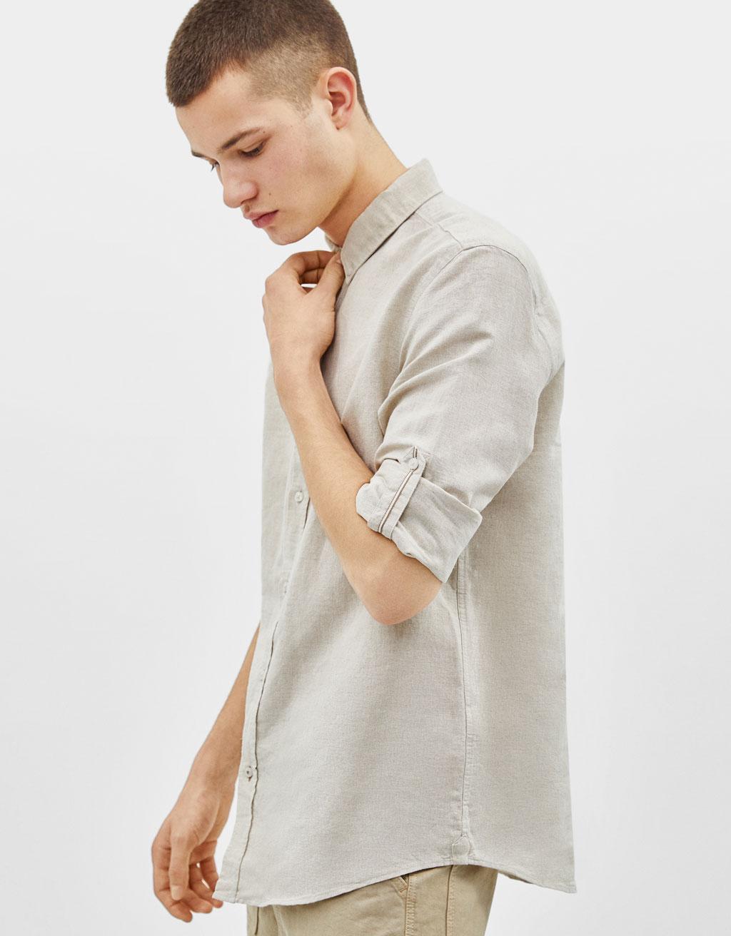 Camisa de lli amb màniga amb volta