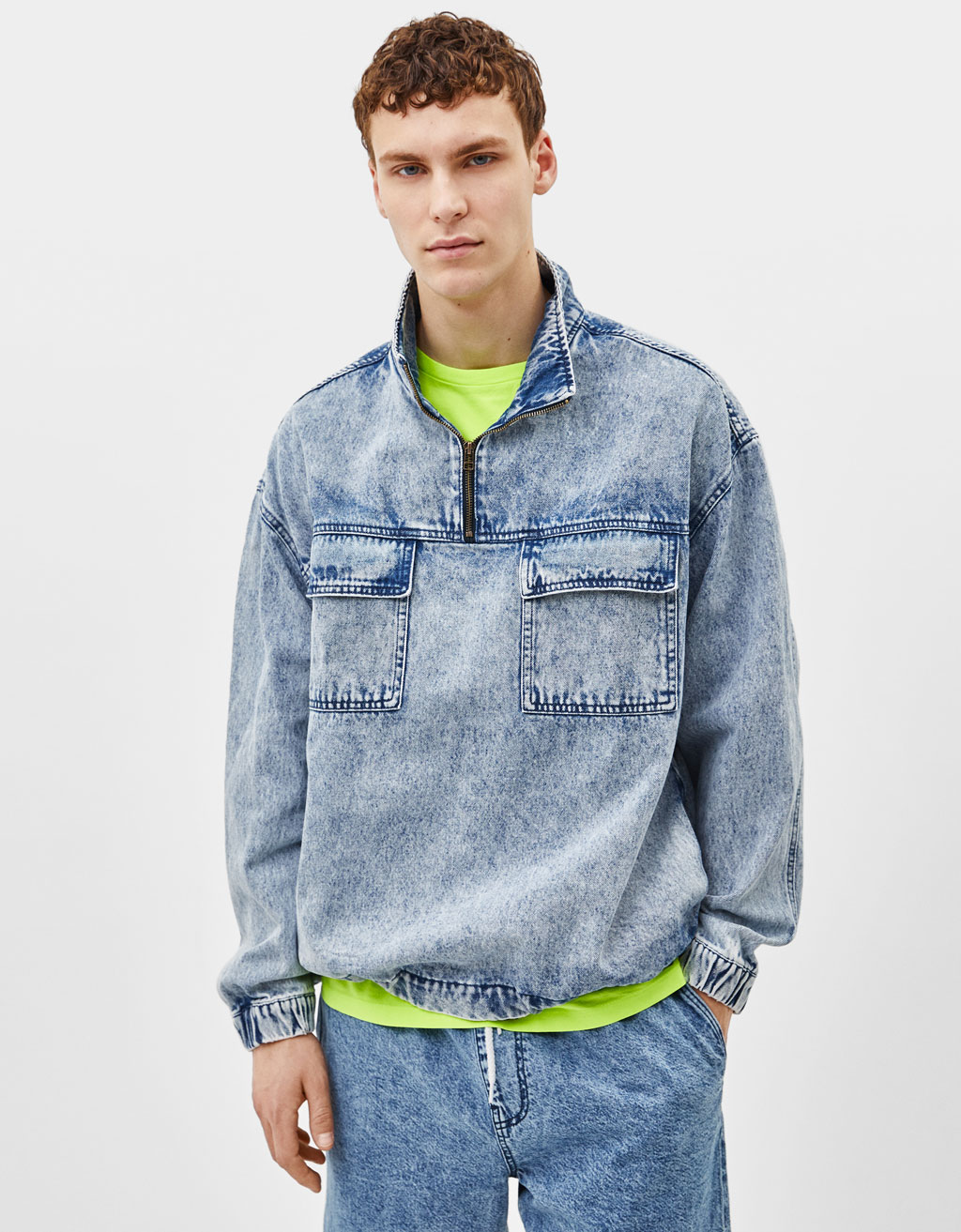 Acid wash denim capuchonsweater
