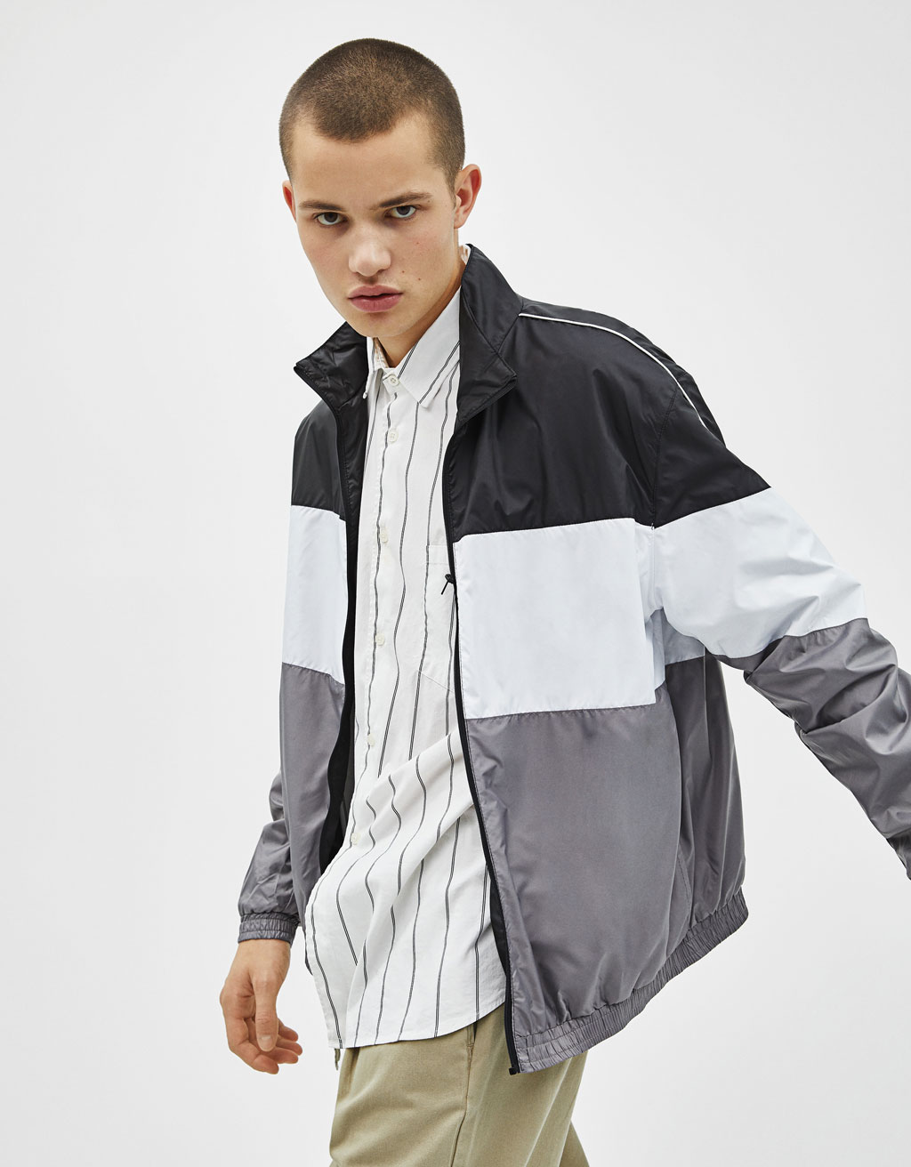 Thin color block jacket