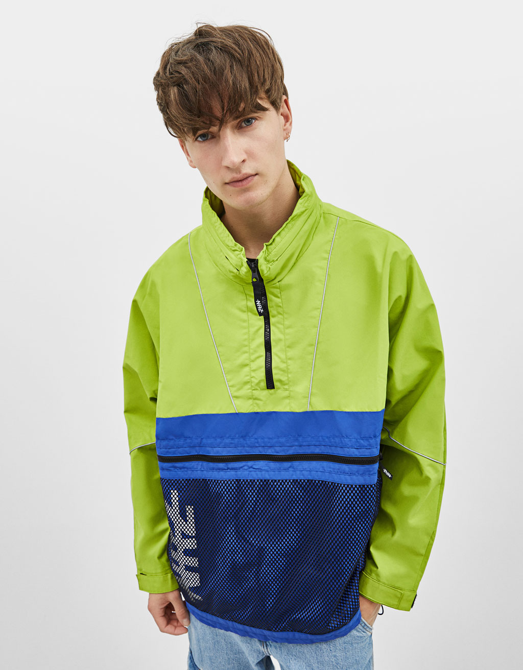 Colour block pouch pocket jacket