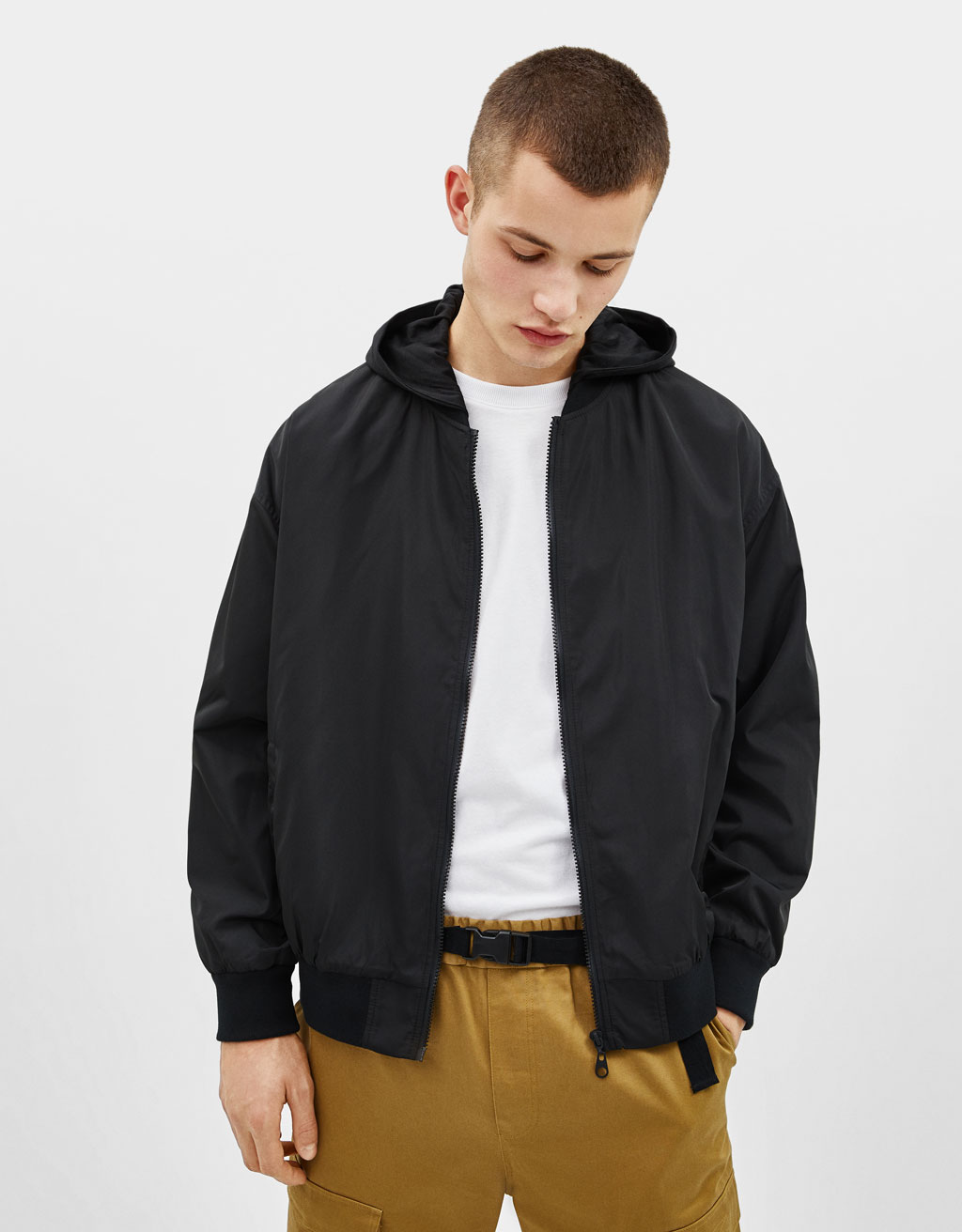 Plush bomber jacket with hood