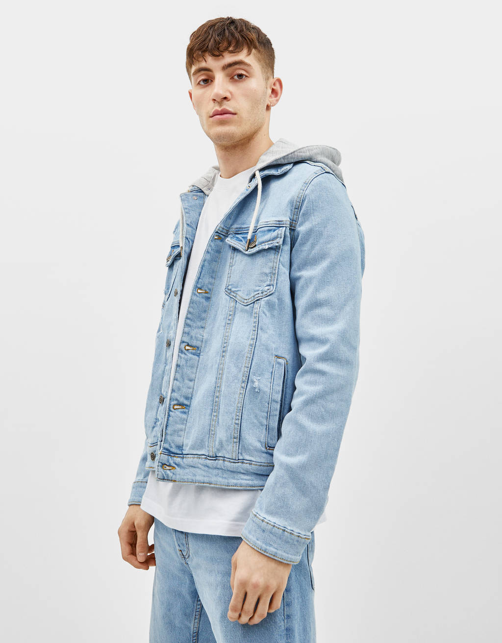 Slim fit denim jacket with hood