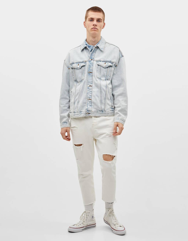 Džinsa jaka ar apdruku mugurpusē