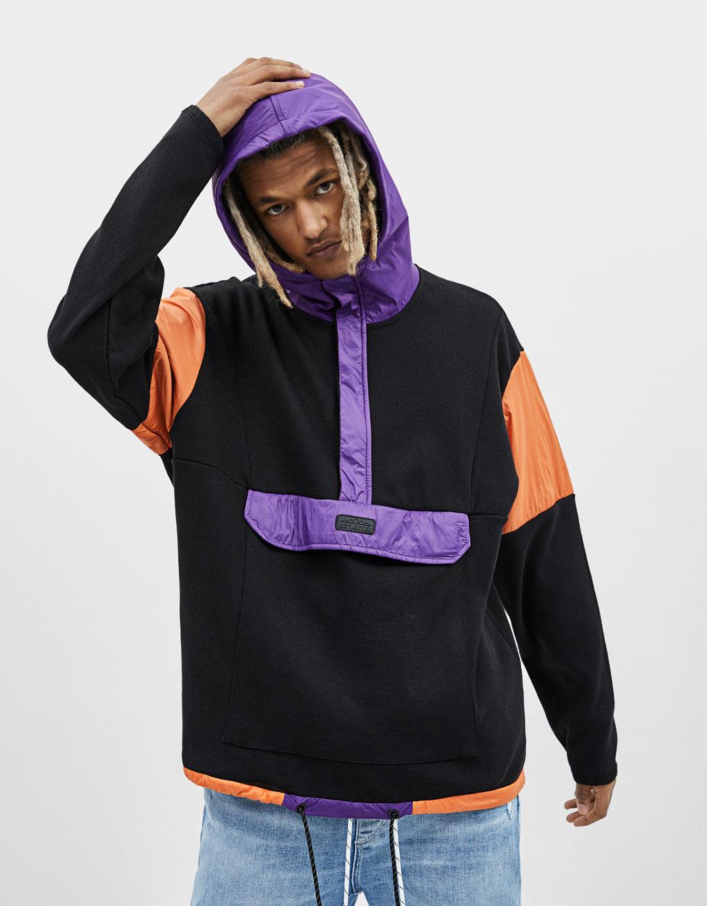 Colour block nylon hoodie