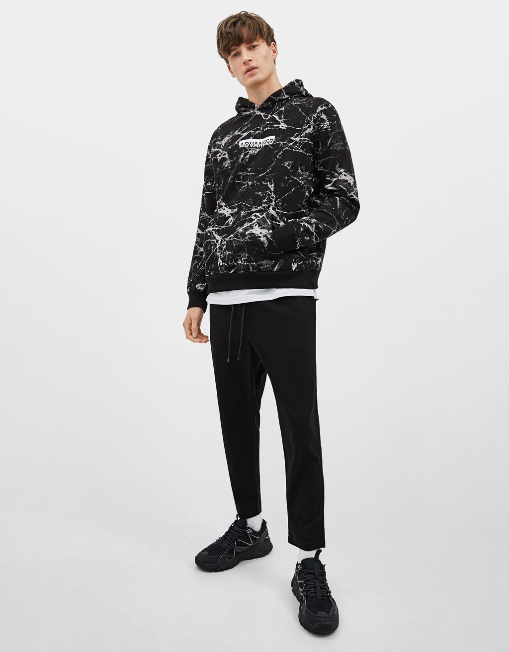 Marble print hoodie