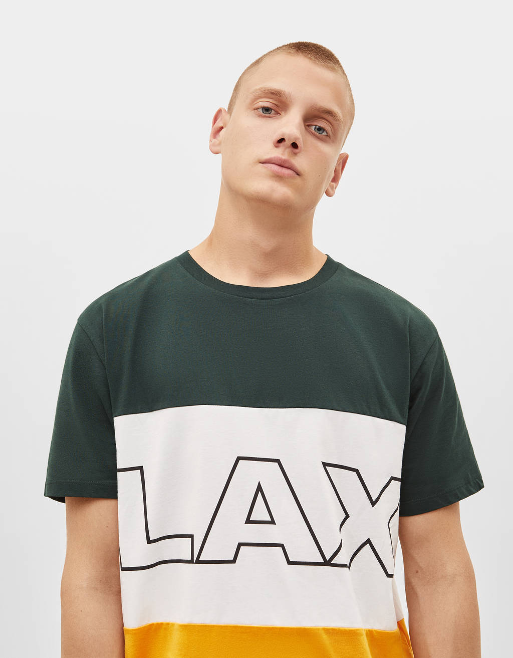 Colour block T-shirt with print