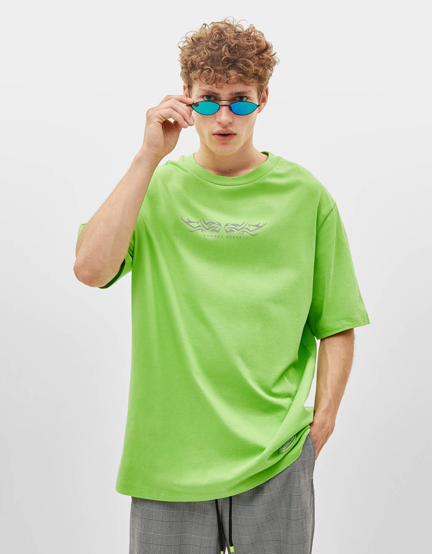 4e79449576 Μπλουζάκι με ανακλαστική στάμπα - Μπλουζάκια - Bershka Greece