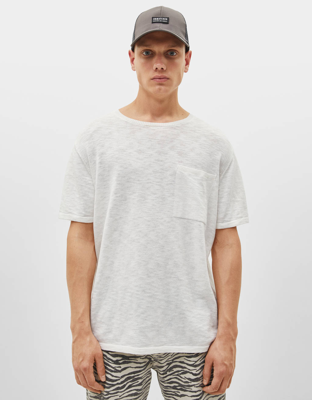 Knit short sleeve T-shirt