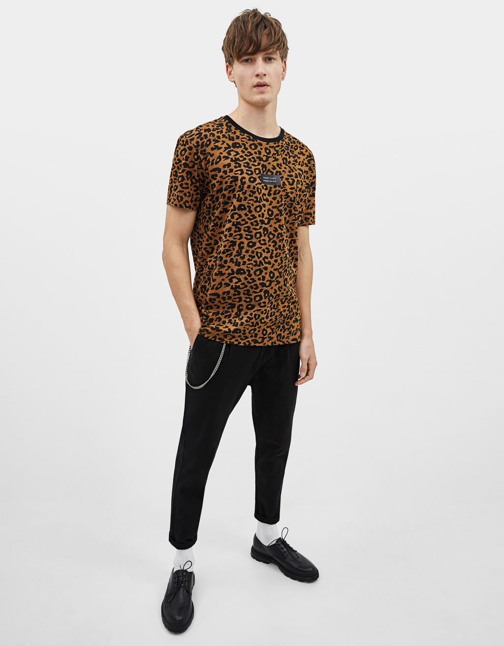 T-shirt com estampado leopardo