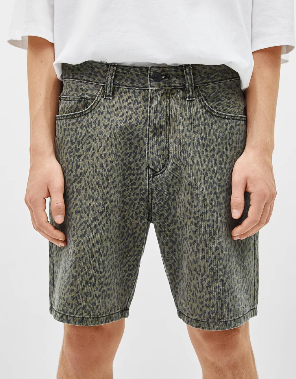 dad-fit-animal-print-bermuda-shorts by bershka