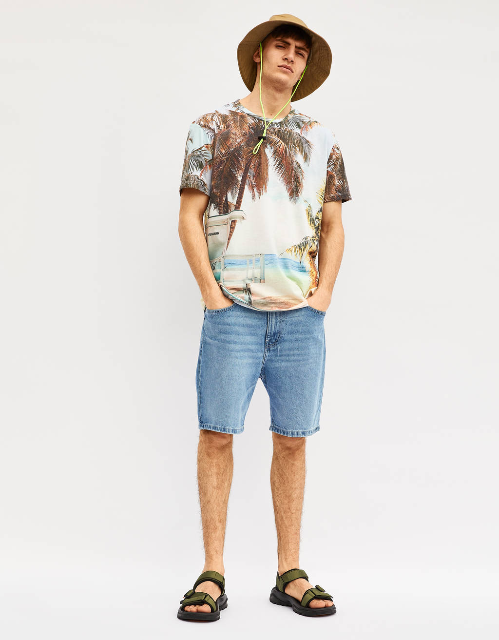 Dad fit denim Bermuda shorts