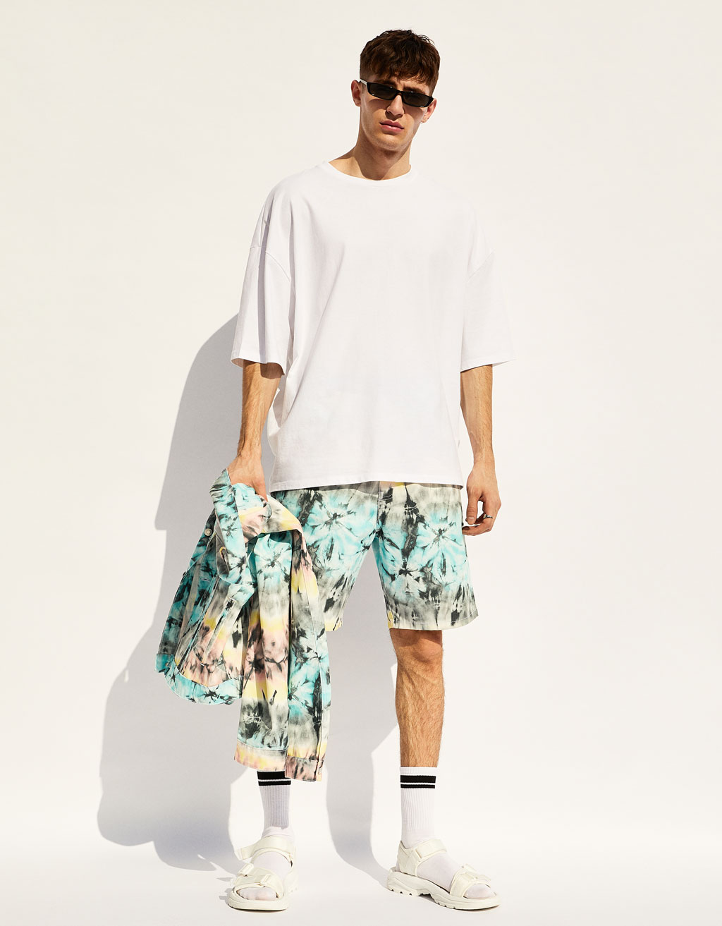 Dad fit tie-dye Bermuda shorts