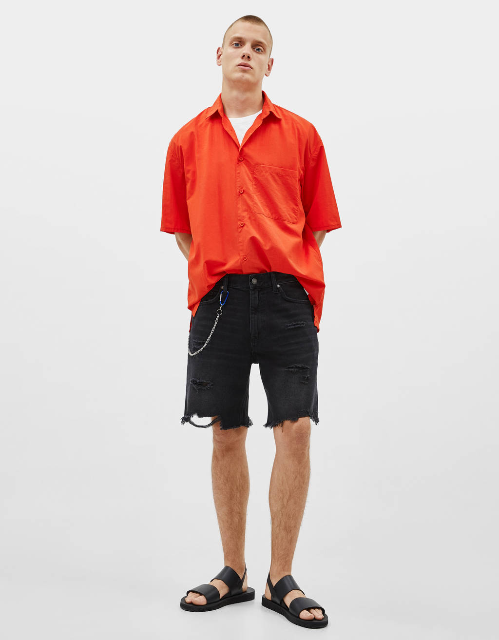 Slim Fit denim Bermuda shorts