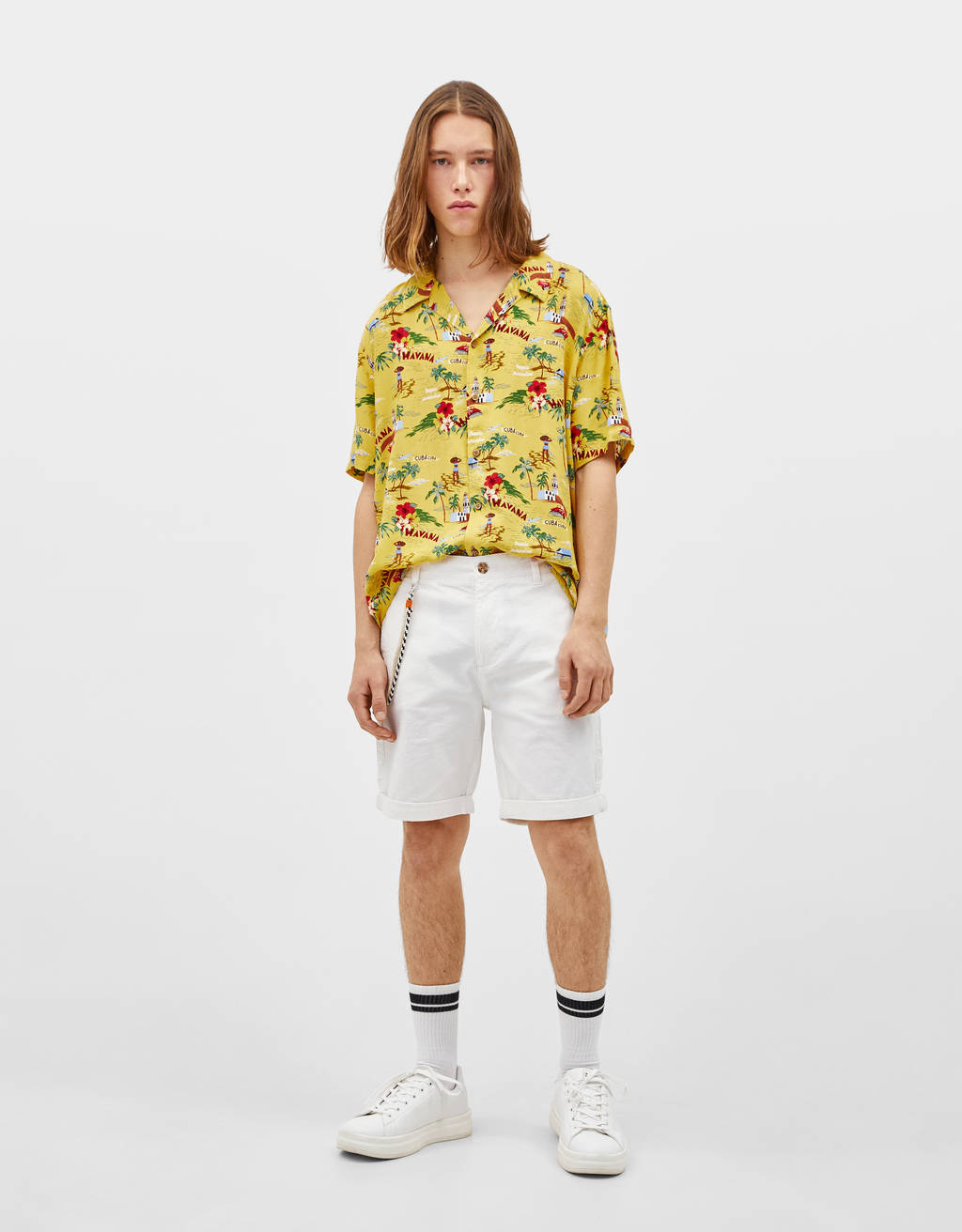 Chino-style Bermuda shorts with cord detail