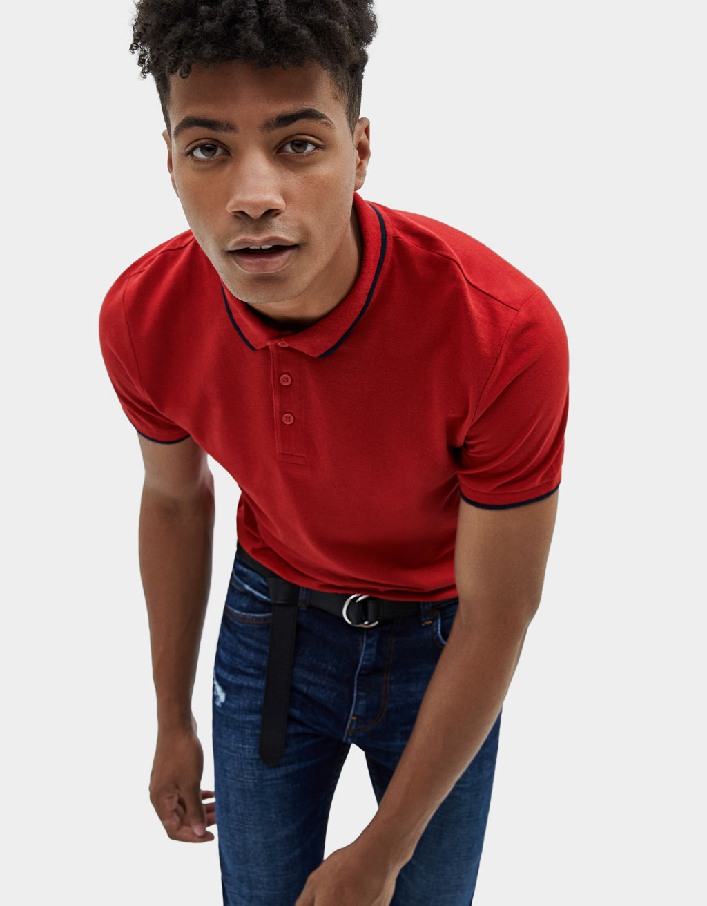 Polo shirt with contrast stripes